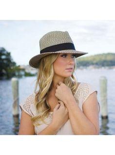 Wallaroo Hats Josie Straw Hat with Adjustable Drawstring-Black straw