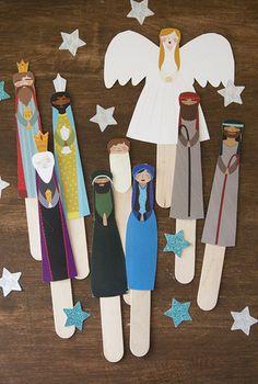 Nativity Puppet Show Christmas Activities, Christmas Crafts For Kids, Xmas Crafts, Craft Stick Crafts, Christmas Traditions, Christmas Decorations, Christmas Printables, Nativity Crafts, Christmas Nativity