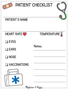 Playing Doctor: Patient Checklist for Kids *Free printable!