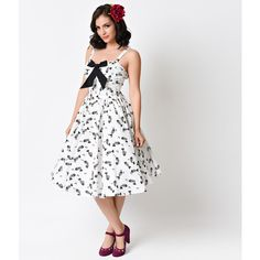Unique Vintage 1950s White & Black Fish Bone Golightly Bow Swing Dress ($53) ❤ liked on Polyvore featuring dresses, white, vintage swing dress, black white cocktail dresses, white dress, white and black dress and swing dress