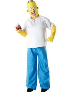 This Homer Simpson costume comes with Top with trousers gloves over head mask shoe covers and foam Duff can Standard Chest 38-42 X-Large Chest 42-46