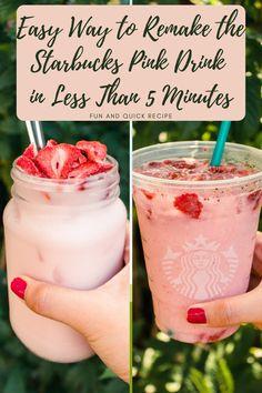 Starbucks Pink Drink Recipe, Pink Drink Recipes, Coffee Drink Recipes, Pink Starbucks, Starbucks Recipes, Pink Drinks, Starbucks Drinks, Starbucks Coffee, Summer Drinks