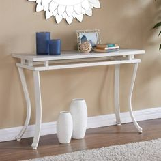 Bring a breath of fresh air to your living room with the Southern Enterprises Edisto Rectangular Console Table - Antique White . Fireplace Furniture, Entryway Furniture, Accent Furniture, Entryway Tables, White Console Table, White Table Top, Hallway Console, Best Sofa, How To Antique Wood