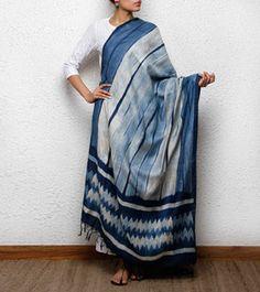 Indigo Tussar Silk Shibori Dyed Dupatta