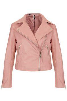 Pastel Leather Biker Jacket