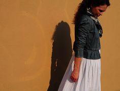 ACG's lead fashion stylist, Hanna Garner of MAVEN in a vintage white cotton sundress under a Marc by Marc Jacobs peplum denim jacket & vintage scarf