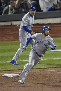 Kansas City Royals first baseman Eric Hosmer rounds first after hitting an RBI double in the ninth inning during game five of the World Series on Sunday, November 1, 2015 at Citi Field in New York.
