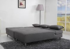 Homewish - Maison Large Fabric Platform Sofa Bed, in Pearl Grey by Leader Lifestyle