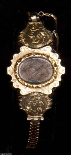 GOLD & HAIR MOURNING BRACELET, 1840-1860
