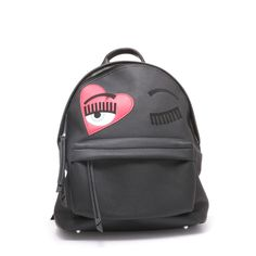 """Black eco-leather """"flirting"""" backpack with suede and patent heart decorations"""