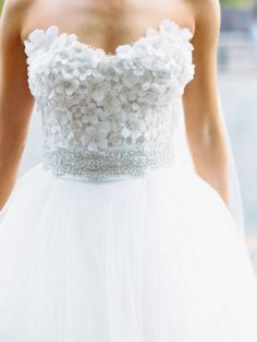 Strapless floral wedding dress #wedding #dress #tulle