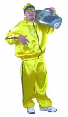 Adult The Rapper Yellow Ali G Costume Size Large . Up Costumes, Group Halloween Costumes, Funny Halloween Costumes, Halloween Ideas, Costume Ideas, 90s Theme Party Outfit, 80s Outfit, Michael Jackson Costume, Rapper Outfits