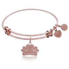 Expandable Bangle in Pink Tone Brass with Little Girl's Princess Dream Symbol