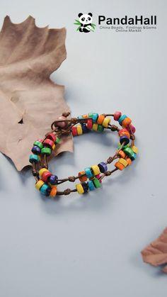 Pandahall colorful wood bead bracelet how to make a morse code bracelet Diy Friendship Bracelets Patterns, Diy Bracelets Easy, Bracelet Crafts, Jewelry Crafts, Handmade Bracelets, Fabric Bracelets, Hemp Bracelets, Wood Bracelet, Handmade Jewelry Tutorials