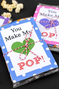 Free Printable Valentine with Popcorn-You Make My Heart Pop!