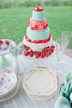 Vintage look cake and china...turquoise and red cake with strawberries