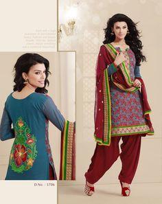 #Patiala Style Beautiful Indian Designer Cambric #Chiffon #SalwarSuit by #craftshopsindia  #clothing #fashion #women
