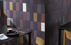 Set the mood: select the perfect colour combination for your project to strike the right tone.  Aubergine & mustard : For a cozy and warm feel Tile Manufacturers, Possible Combinations, Different Tones, Outdoor Settings, Stone Tiles, Source Of Inspiration, Interior Walls, Terracotta, Stoneware