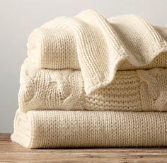 Restoration Hardware - Italian Wool & Alpaca Knit Throw - Ivory