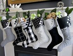 Black & White Christmas Stockings by SouthHouseBoutique White Christmas Stockings, Black Christmas, Noel Christmas, Christmas Fashion, Winter Christmas, Christmas Ornaments, Christmas Fireplace, Victorian Christmas, Christmas Crafts