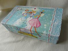 Christmas Wooden Box Blue Jewelry Box Girl by TwoCatsAndAnOwl