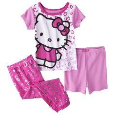 bf03ecc0a49c5 Hello Kitty Toddler Girls  3-Piece Short-Sleeve Pajama Set - Pink 4T  (492170220782) Hello kitty toddler girls  3-piece short-sleeve pajama set -  pink 4t