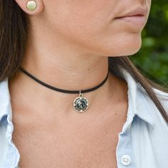 How to make a Black Suede Choker With Charm accent - DIY jewelry tutorial - hand made necklace ideas - make your own fashion accessories - custom made necklaces