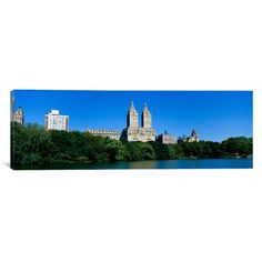 East Urban Home Panoramic Buildings on the Bank of a Lake, Manhattan, New York City, New York State, Photographic Print on Canvas Size: