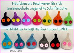 Briefbeschwerer HÄUFCHEN Farbwahl von Woll-KE auf DaWanda.com