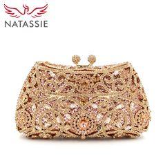Barato Natassie noite sacos de festa de casamento das senhoras saco de embreagem ouro cristal diamantes mulheres bolsas, Compro Qualidade Bolsas para noite diretamente de fornecedores da China:                                                           &n