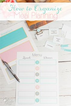 Great tips and ideas how to organize Meal Planning to make it simple. Organizing meal planning saves me money and makes dinner easy. love it and the free printable!