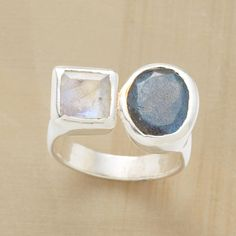 Love this!!    VISAGE RING--Two hues of iridescent shimmer come face to face, an oval labradorite and a square moonstone. A Sundance exclusive in sterling silver. Whole sizes 6 to 9.