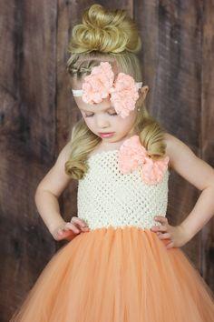 Newborn Size 9 White and Peach Floral Tutu Dress by krystalhylton