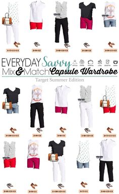 Here is a new Target Summer Capsule wardrobe. It includes cute shorts, tank tops, tees and fun prints. This makes is easy to look great this summer. via @everydaysavvy