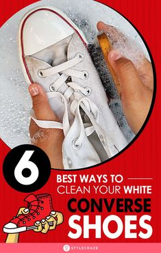 Converse shoes get awfully dirty & within the first couple of uses, or even worse if you happened to use them in rains. Here is how to clean them using simple hacks, have a look How To Clean White Converse, White Converse Shoes, White Sneakers, How To Whiten Shoes, Cleaning Sneakers, Cleaning Hacks, Deep Cleaning, Clean Shoes