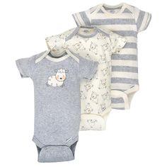 27f97a1714 3-Pack Organic Neutral Grey Lamb Onesies® Brand Short Sleeve Bodysuits