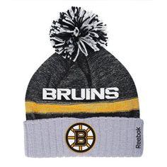 Mens Boston Bruins Reebok Black Cuffed Knit Hat with Pom