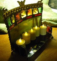 Stained Glass Patterns Candle Holder | Victorian Woodland Fairy - Stained Glass Painted Candle Holder