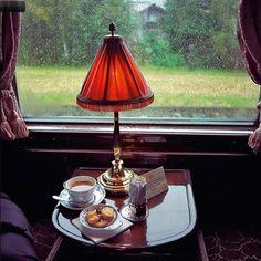 Rain and a train - heaven. I love train travel....