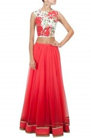 Ridhi Mehra Printed crop top with red floral detailing Product Code - RMC3T0414C13 Price - $ 141