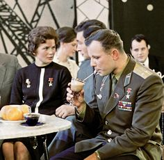 Today (April 12) we celebrate Yuri Gagarin, the first human to journey into outer space, pictured here with Valentina Tereshkova, the first woman to have flown in space. Moscow Central TV Studio. 1964