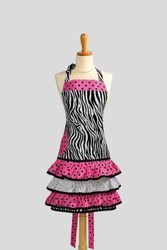 Sassy Ruffles Apron  Womens Handmade Full Retro by CreativeChics, $40.00