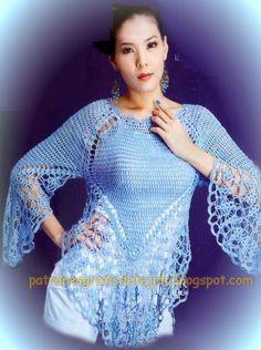 Encantadora Blusa al crochet   Crochet y Dos agujas