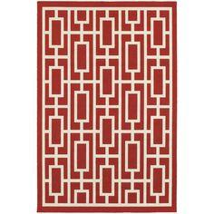 Bellamy Red & Ivory Indoor/Outdoor Area Rug