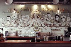 Illustration of the week, bumped into this by accident. Mural @ Patrona, Helsinki by Robin Falck. Mexican Kitchens, Last Supper, Street Signs, Helsinki, Mexican Food Recipes, Ceiling Lights, Traditional, Illustration, Robin