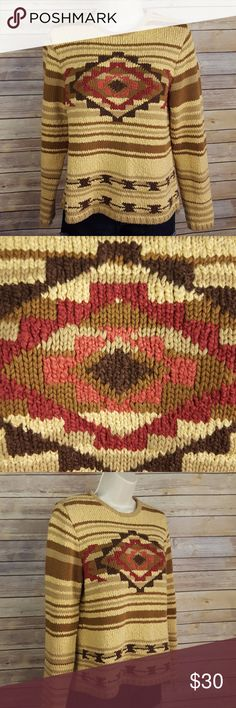 """Pendleton aztec print gold and brown sweater Pendleton size medium sweater, gold and brown with dark mauve accent on aztec design, 100% cotton, flat lay measurements are about...19"""" bust, 23"""" sleeve length, 22 1/2"""" length, great condition, smoke free home Pendleton Sweaters"""