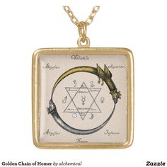 Golden Chain of Homer Square Pendant Necklace