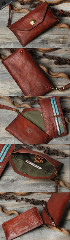 Handmade biker chain wallet long wallet leather men phone clutch