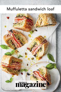 The iconic New Orleans muffuletta sandwich is a traditional Italian lunch of cold meats, cheese and olives in a round loaf. A delicious lunch idea for kids and adults alike, it can be made ahead too. Get the Sainsbury's magazine recipe Muffuletta Sandwich, Italian Lunch, Lunch Snacks, Lunches, Food Trends, Wrap Sandwiches, Sandwich Recipes, Food Inspiration