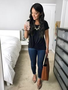Black Twist Tee Outfit with Leopard Flats. Black knot front top+skinny  jeans+ 0afe1f36a